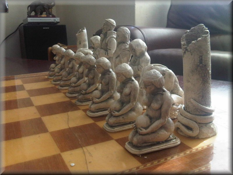 Large egyptian mesopotamian style collectible chess set black and stone ebay - Collectible chess sets ...